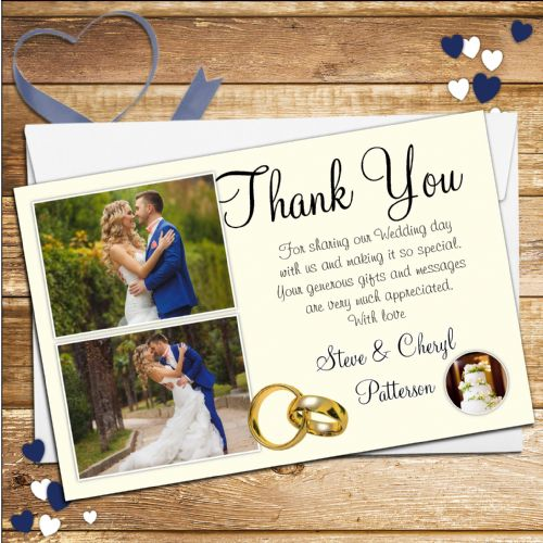 10 Personalised Gold Rings Wedding Day Thank you Photo cards N42